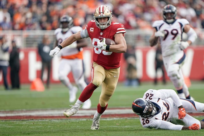 San Francisco 49ers tight end George Kittle caught seven passes for 210 yards and a touchdown in Week 14 against the Denver Broncos -- all in the first half.