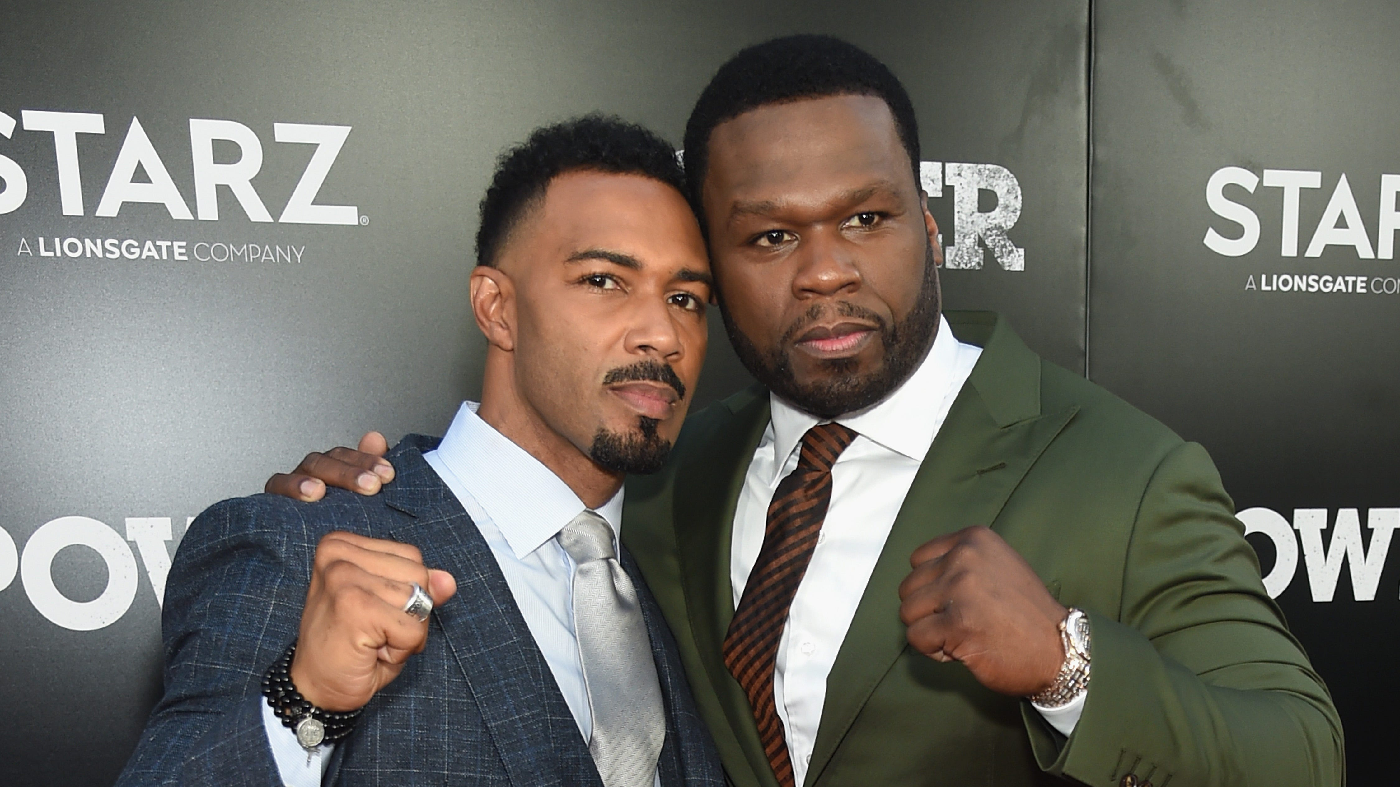 "Omari Hardwick (L) and Curtis ""50 Cent"" Jackson attend the Starz ""Power"" The Fifth Season red carpet premiere on June 28, 2018 in New York City."