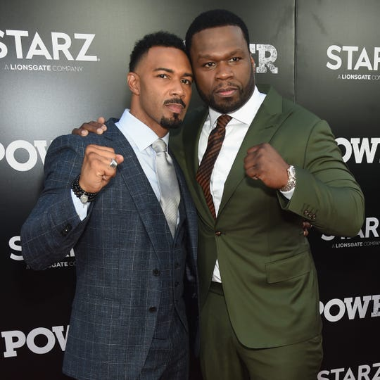 """Omari Hardwick (L) and Curtis """"50 Cent"""" Jackson attend the Starz """"Power"""" The Fifth Season red carpet premiere on June 28, 2018 in New York City."""