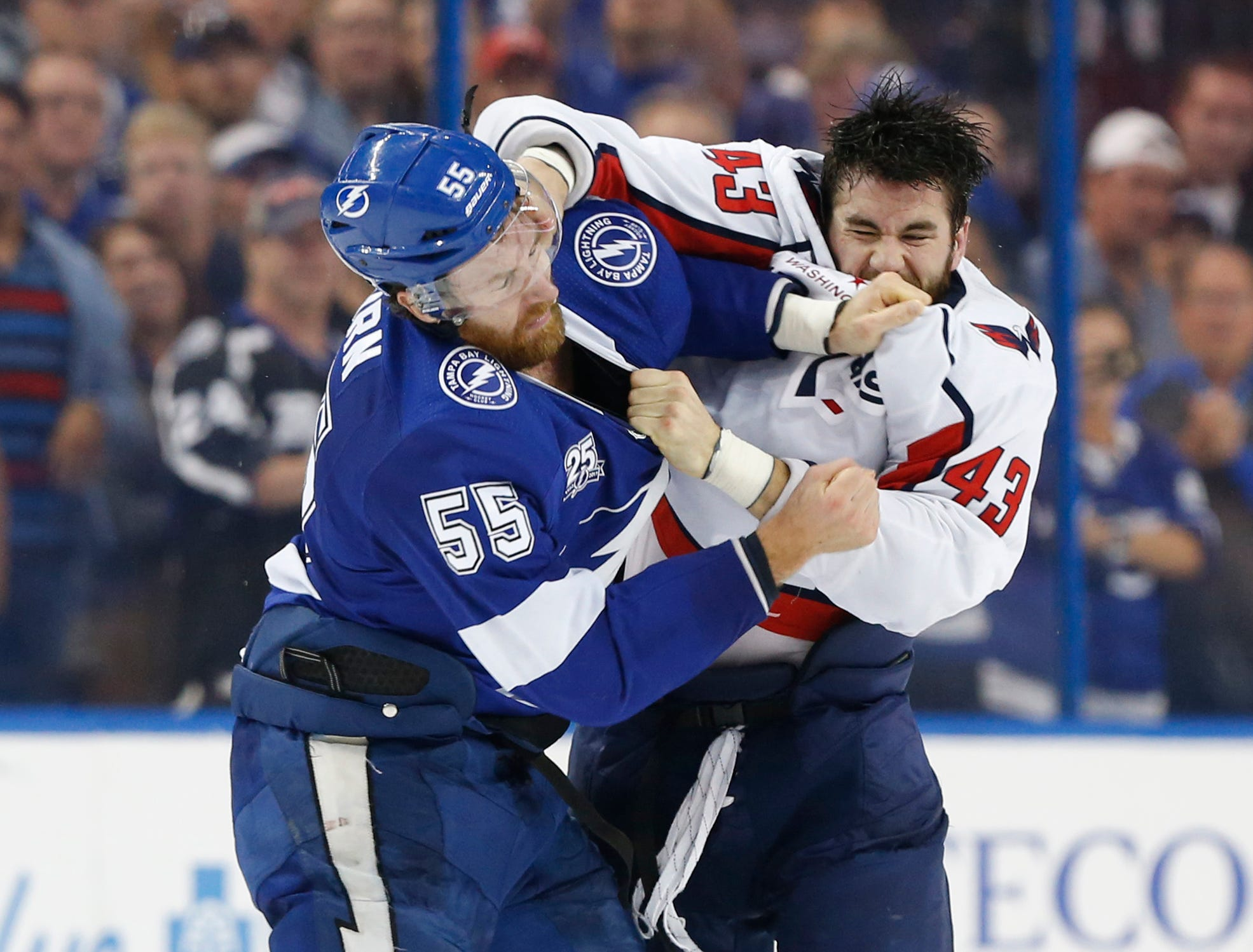 May 23: Washington Capitals right wing Tom Wilson (43) fights Tampa Bay Lightning defenseman Braydon Coburn in Game 7 of the Eastern Conference final.