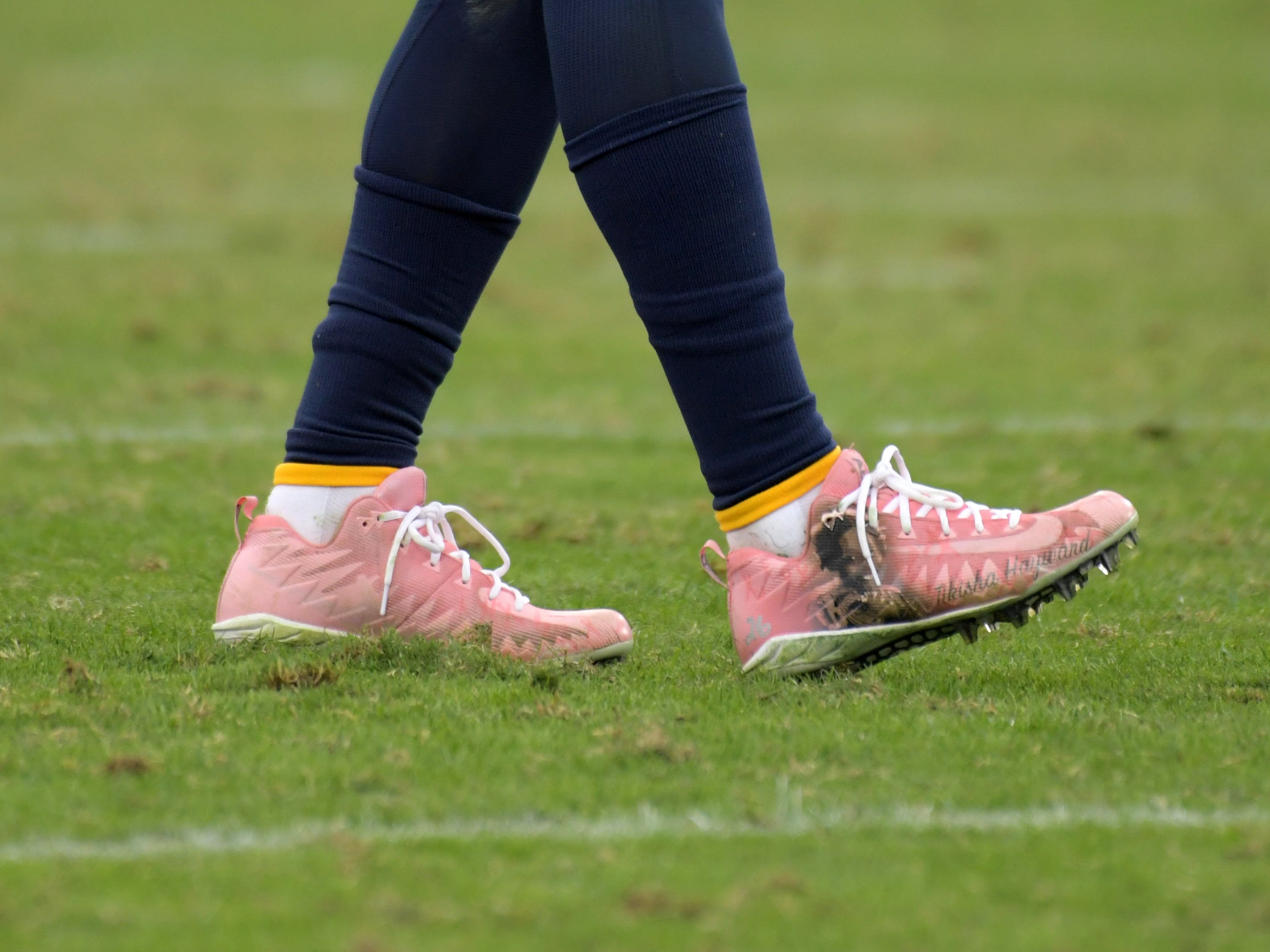 Los Angeles Chargers cornerback Casey Hayward wears personalized Nike cleats as part of the My Cause My Cleats campaign during the game against the Cincinnati Bengals at StubHub Center.