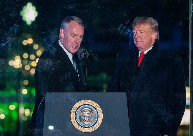 Secretary of the Interior Ryan Zinke and  President Donald Trump at the lighting of the national Christmas tree on Nov. 28, 2018.