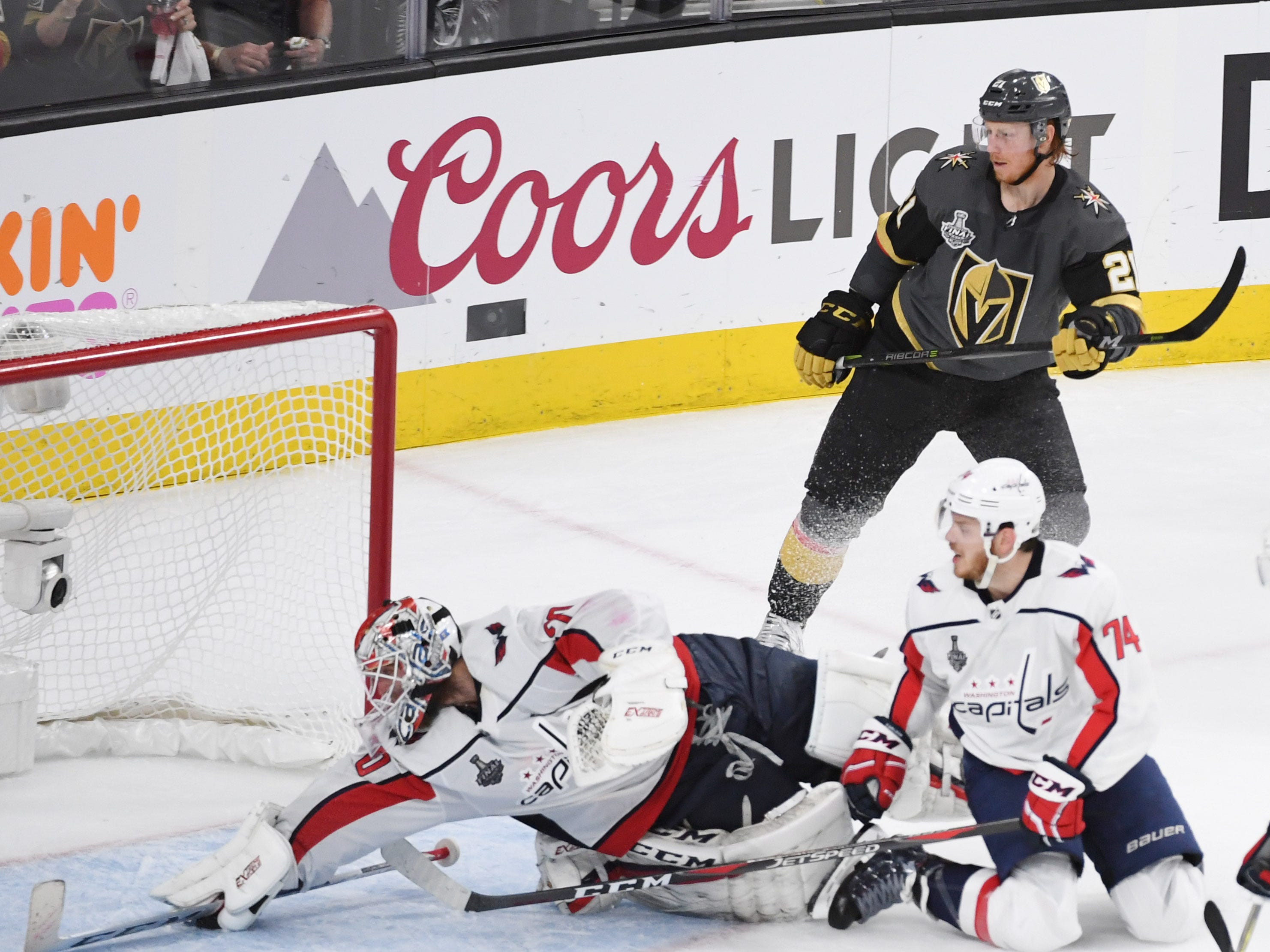 May 30: Washington Capitals goaltender Braden Holtby (70) makes a diving save against the Vegas Golden Knights in the third period of Game 2 of the Stanley Cup Final.