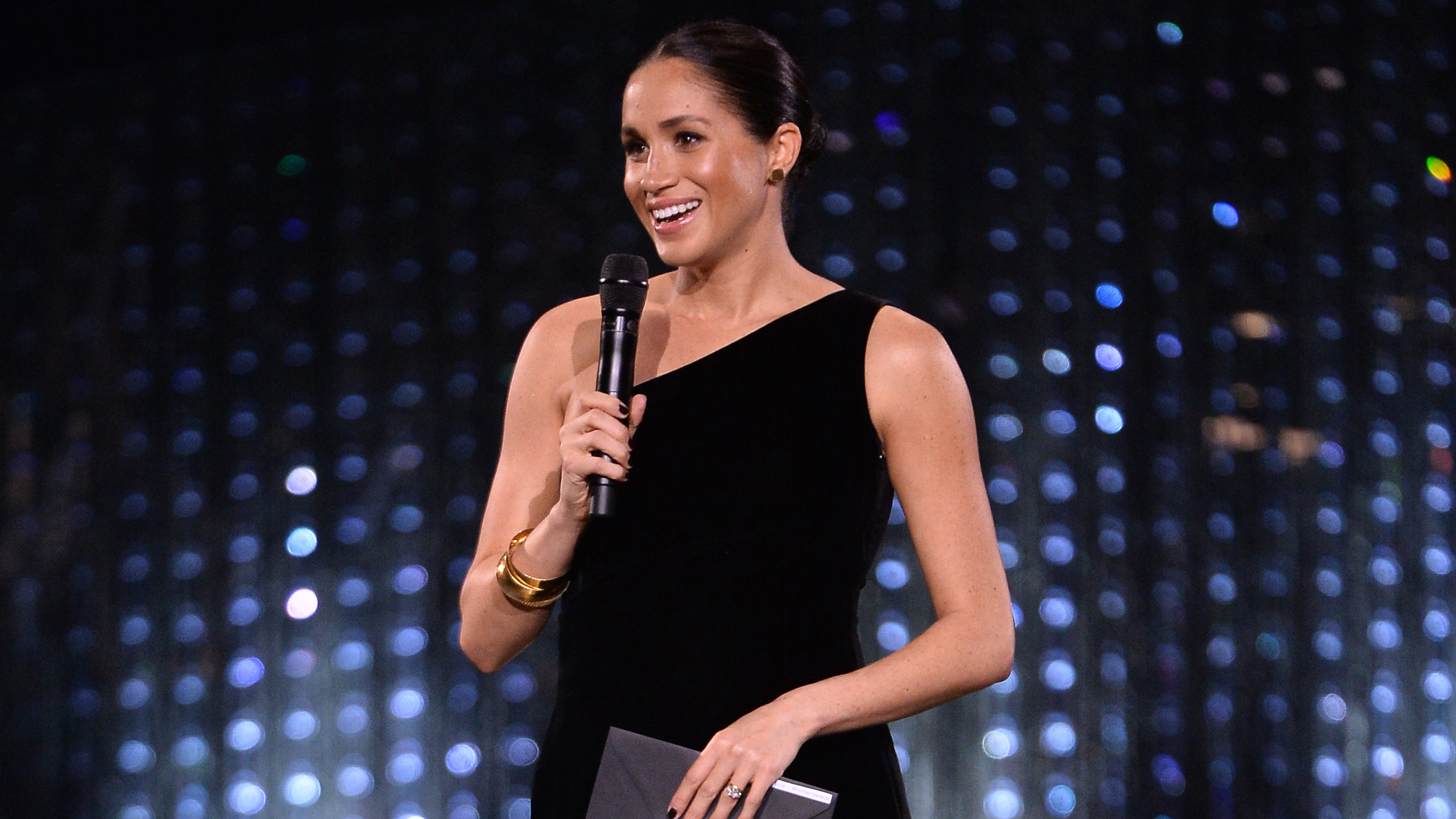 One time useLONDON, ENGLAND - DECEMBER 10:  Meghan, Duchess of Sussex on stage during The Fashion Awards 2018 In Partnership With Swarovski at Royal Albert Hall on December 10, 2018 in London, England.  (Photo by Jeff Spicer/BFC/Getty Images)