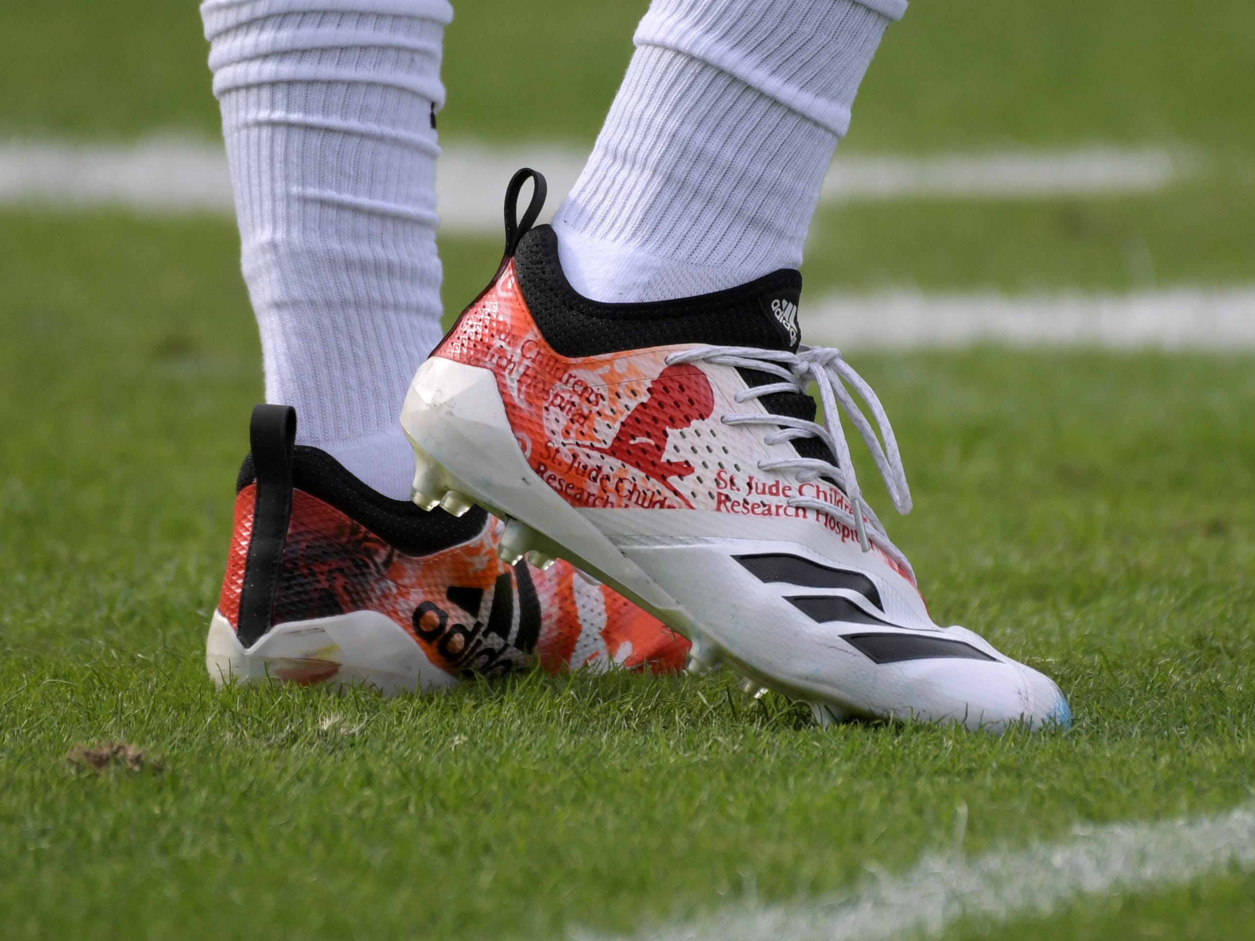 Cincinnati Bengals cornerback Darius Phillips wears personalized Adidas cleats as part of the My Cause My Cleats campaign during the game against the Los Angeles Chargers at StubHub Center.