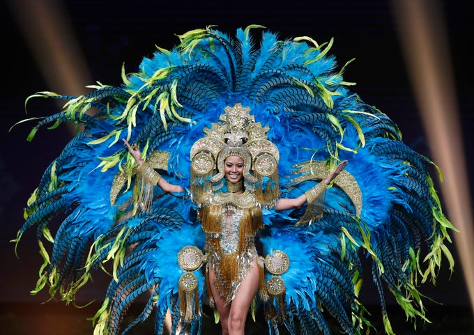 epa07222199 Miss Panama Rosa Montezuma poses in her national costume during the Miss Universe 2018 national costume contest at Nongnooch International Convention and Exhibition Center in Pattaya, Chonburi province, Thailand, 10 December 2018. Women representing 94 nations participate in the 67th beauty pageant Miss Universe 2018 which will be held in Bangkok on 17 December 2018.  EPA-EFE/RUNGROJ YONGRIT   EDITORIAL USE ONLY ORG XMIT: RUN1382