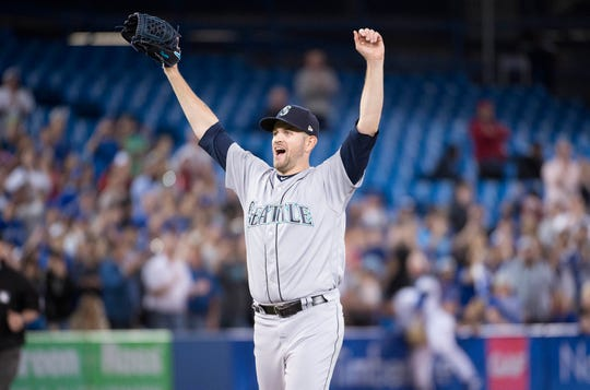 James Paxton celebrates after throwing a no-hitter last May.