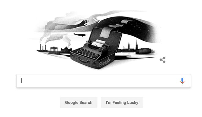 A Google Doodle in honor of Jewish poet and Nobel Prize winner Nelly Sachs. She was born on December 10 ,1891.