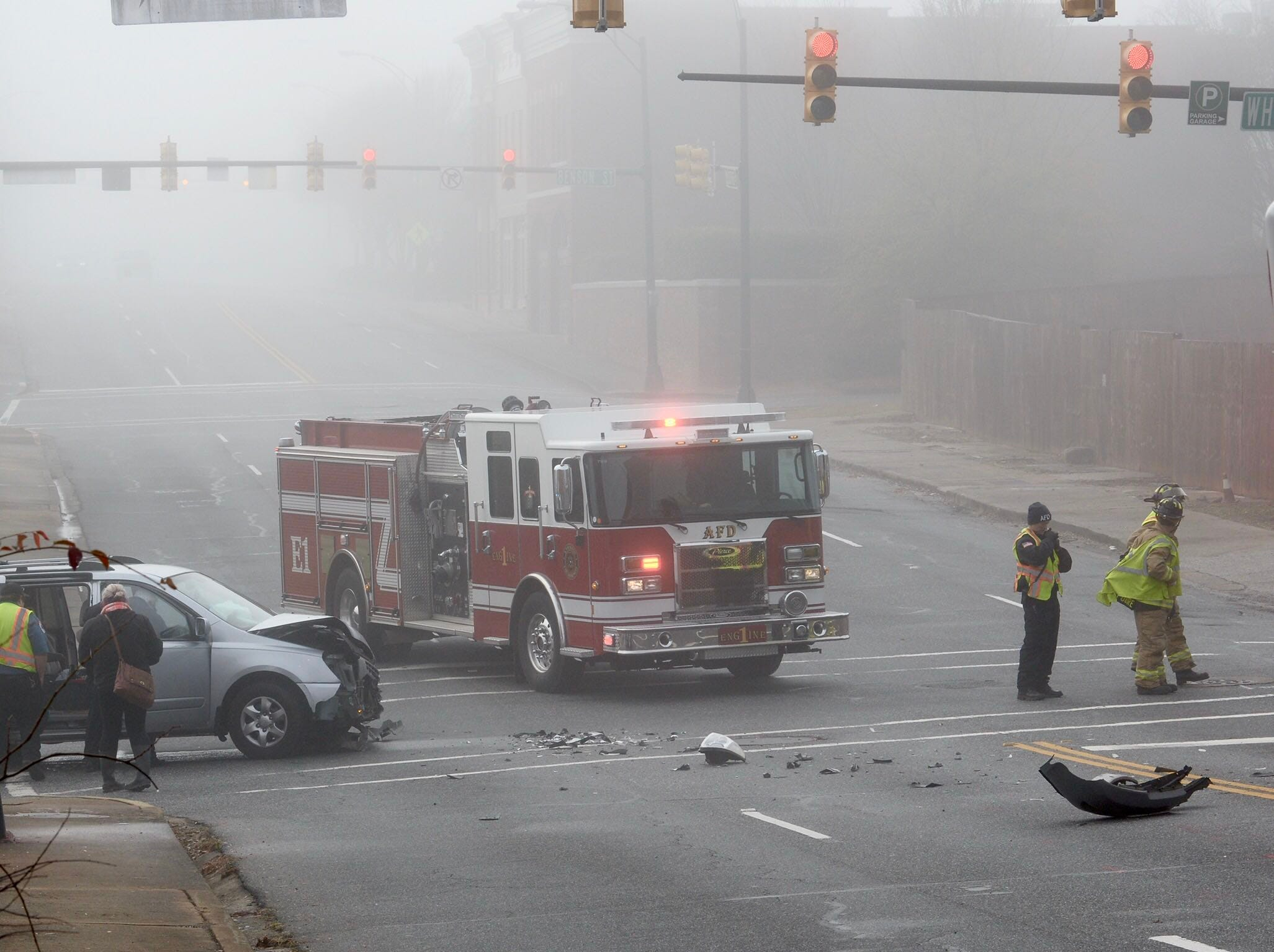 Anderson Fire Department and a Medshore ambulance at scene of a two-vehicle crash at McDuffie Street and East Whitner on Tuesday, Dec. 11, 2018.