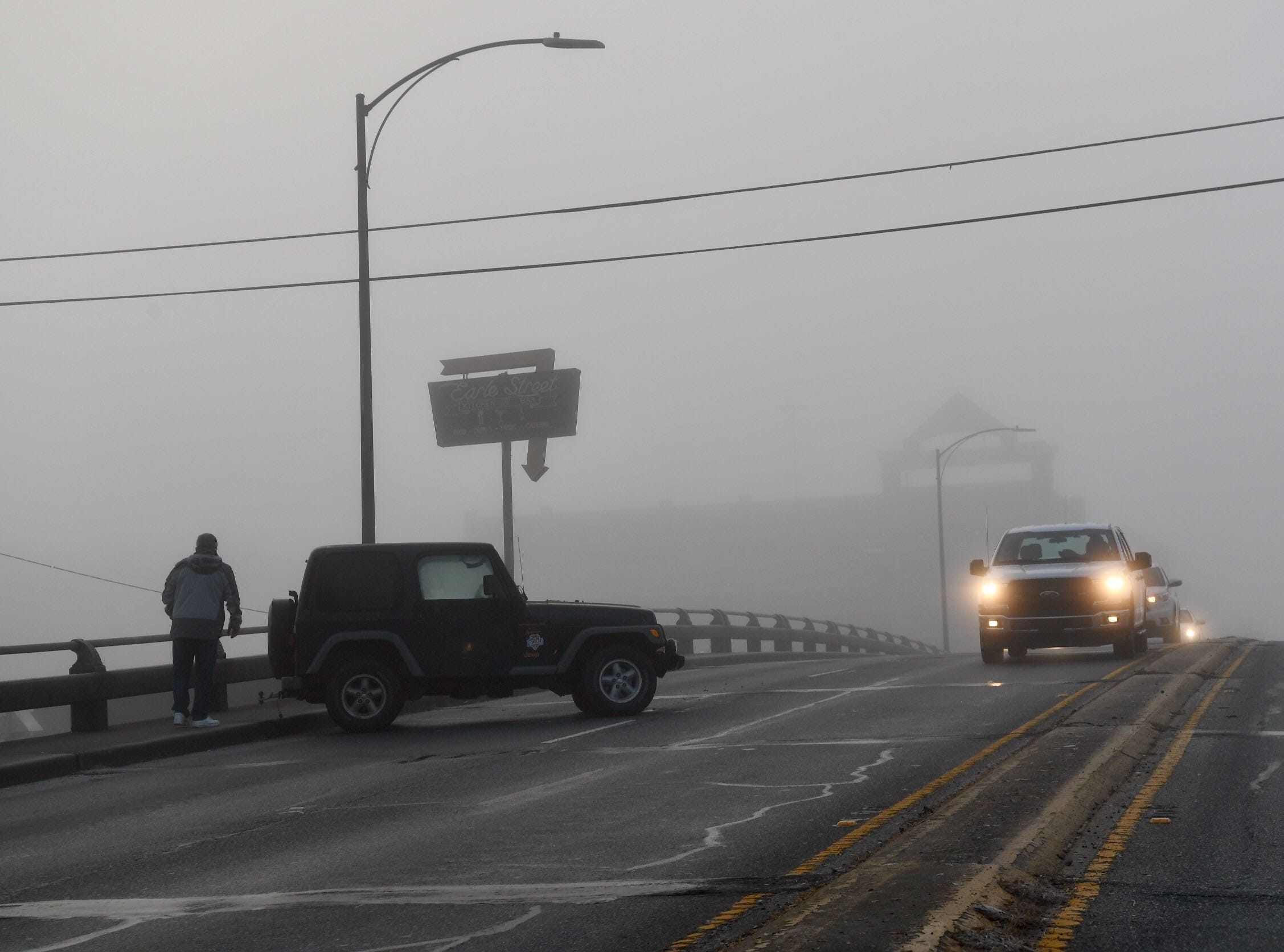 The bridges in Anderson County turned icy even as fog enveloped the area on Tuesday, Dec. 11, 2018. One Jeep spun out and blocked a lane on Murray Avenue bridge in downtown, with police assisting afterwards.