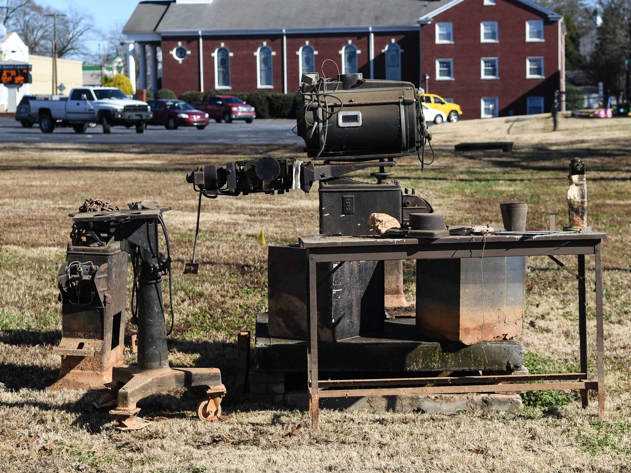 Old theater equipment saved from demolition at the Williamston Theater in Williamston on Tuesday.