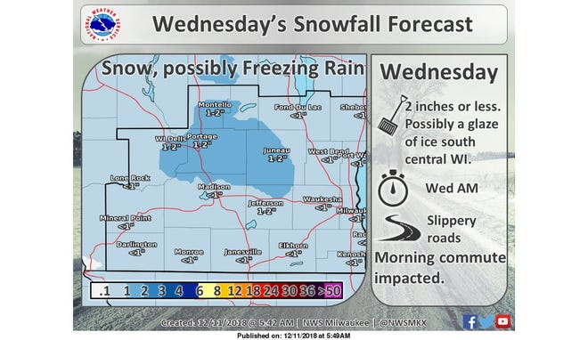 Snow and ice are expected around the state Wednesday.
