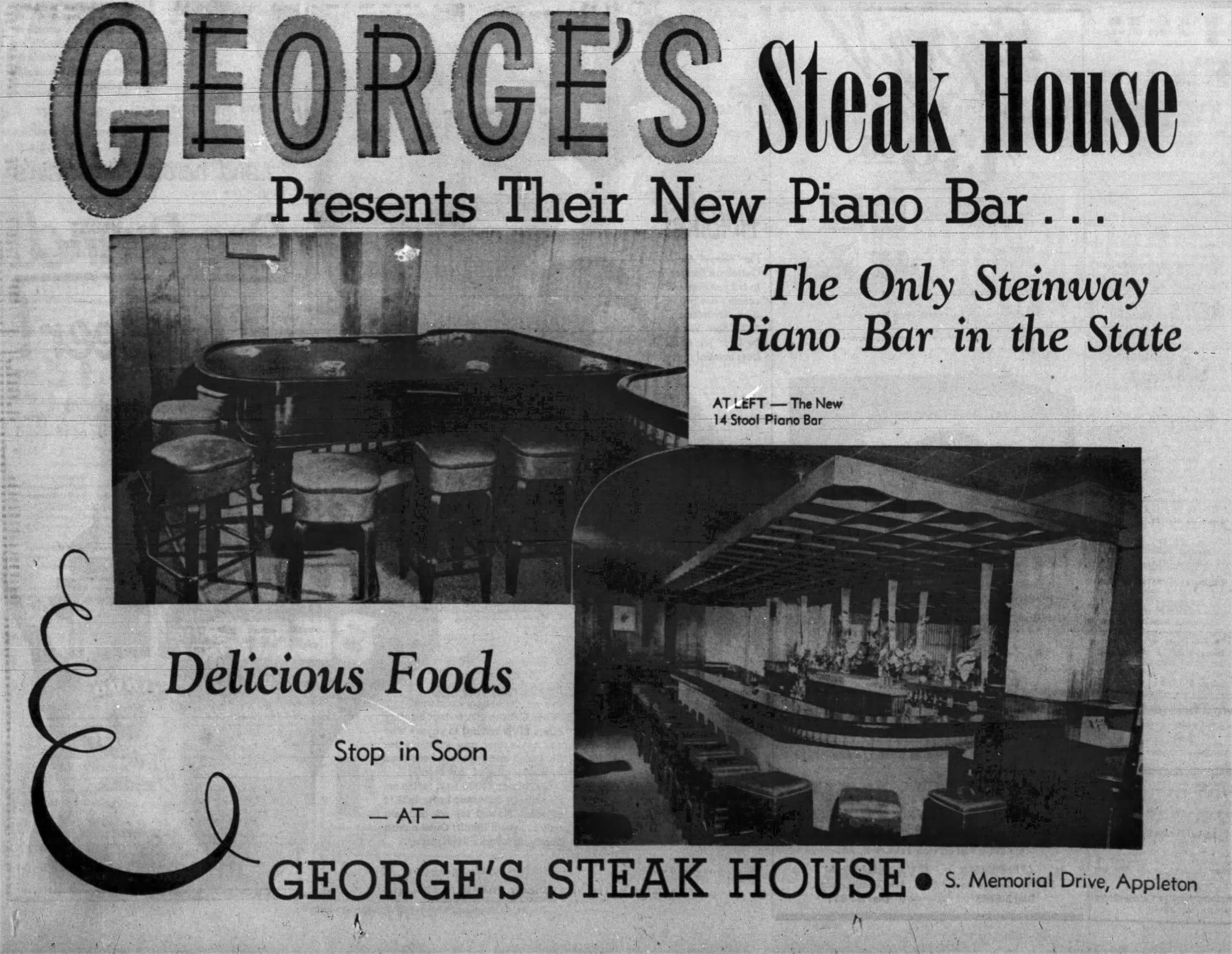 This ad for George's Steak House in Appleton ran in the April 23, 1954 edition of The Post-Crescent.