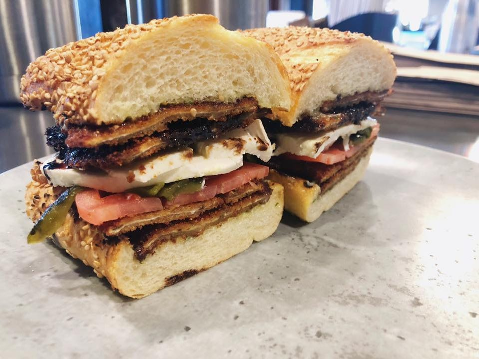 From Big Mike's Little Red Store in Middletown, a fried eggplant sandwich with housemade mozzarella, poblano peppers, tomato and pesto aioli.