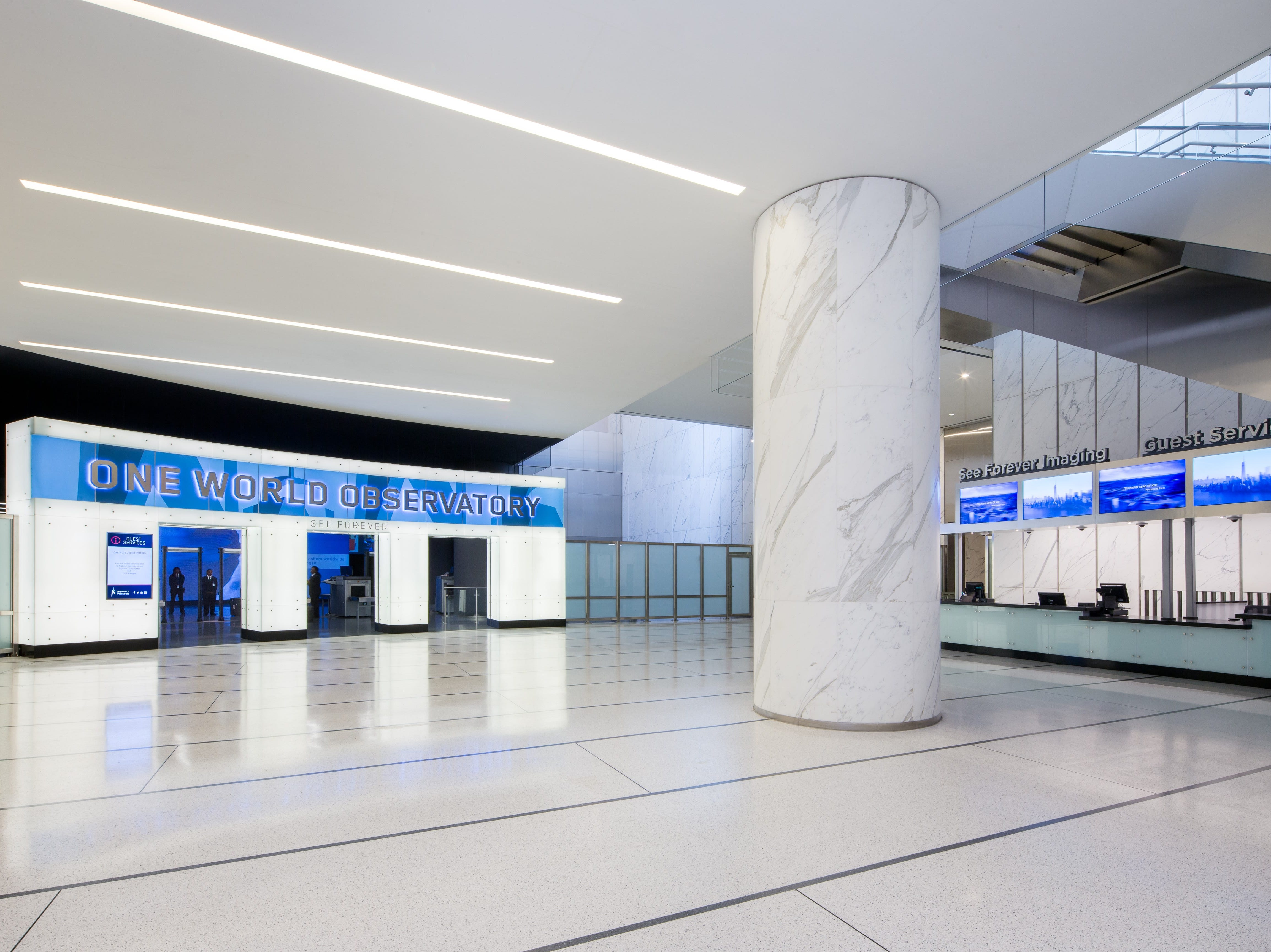 A view of the lobby at One World Trade Observatory.