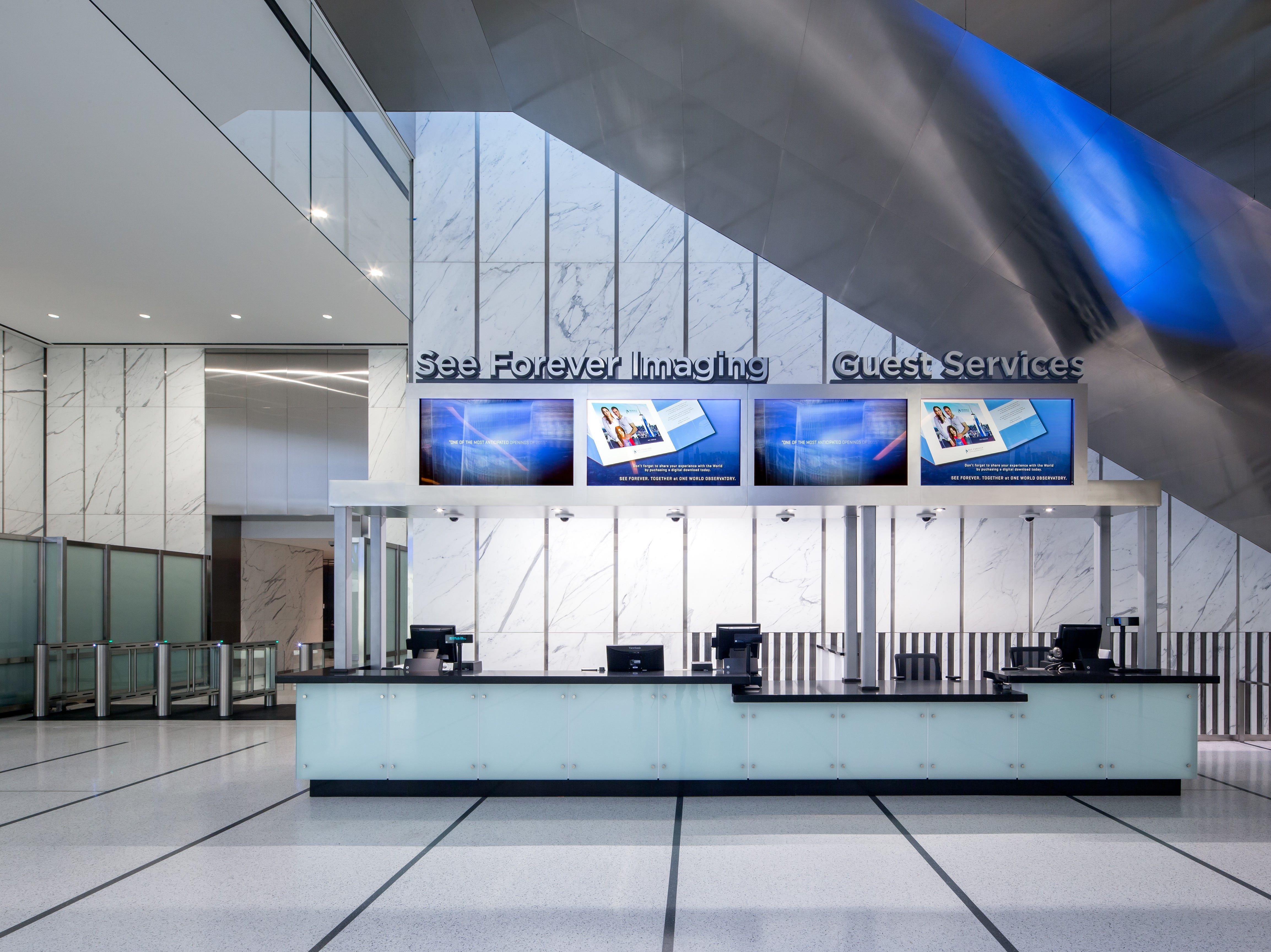 The information desk at One World Trade Center.