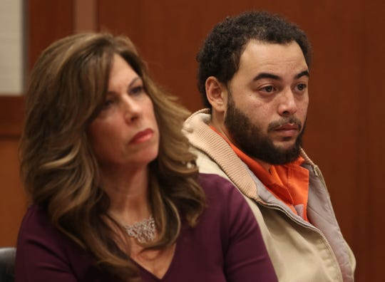 Defendant David Lamar appears during a detention hearing before Superior Court Judge Anthony Massi on charges which include vehicular manslaughter. At left is defense attorney Robin Lord. Trenton, NJTuesday, December 11, 2018