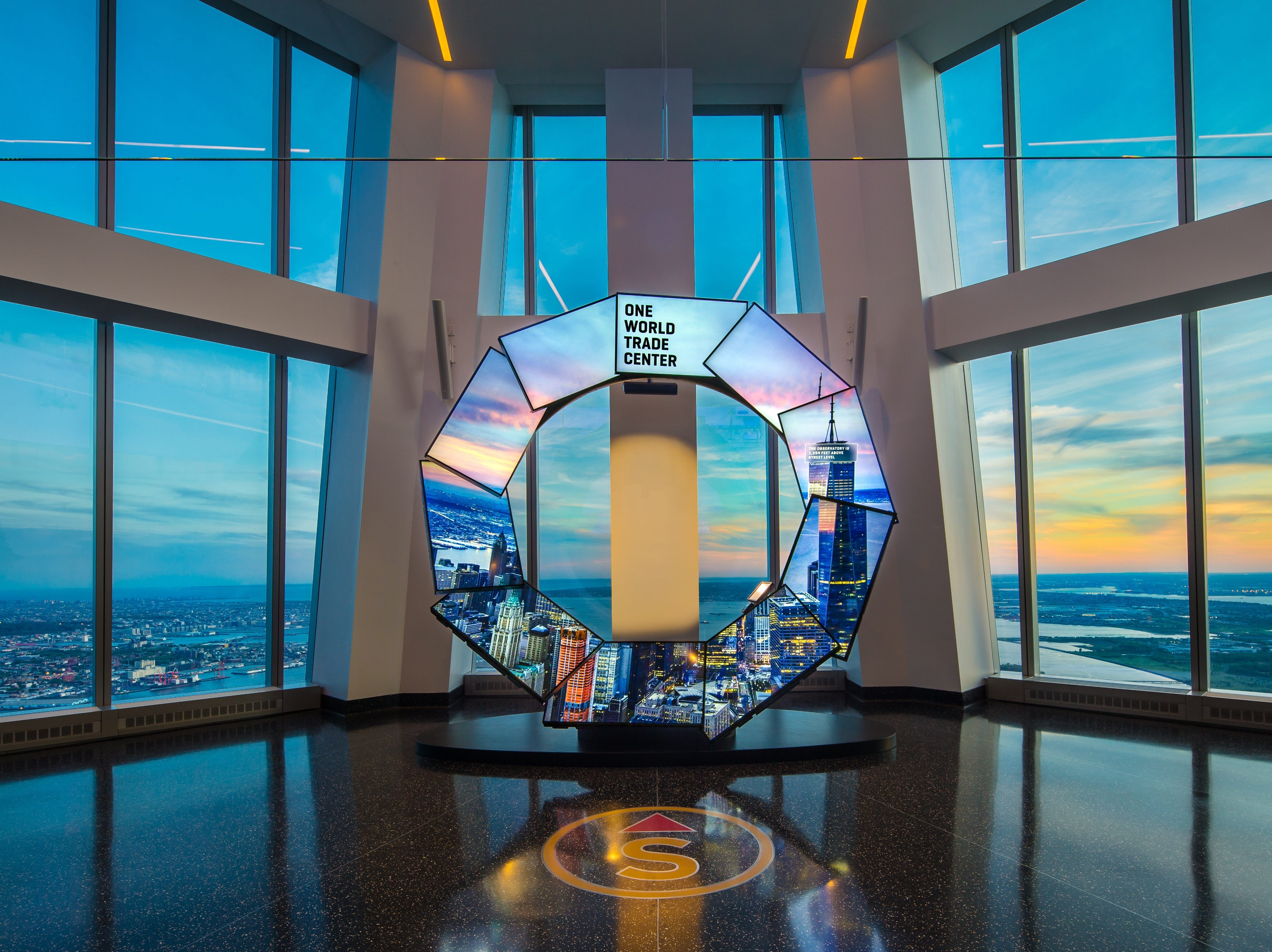 The animated feature known as City Pulse, at dusk at One World Observatory.