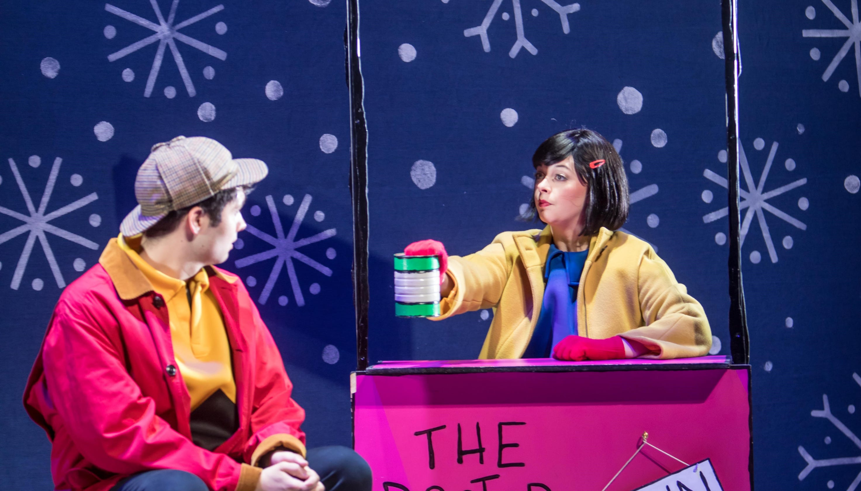 A Charlie Brown Christmas Play.Charlie Brown Christmas Characters Play Off Each Other On Stage