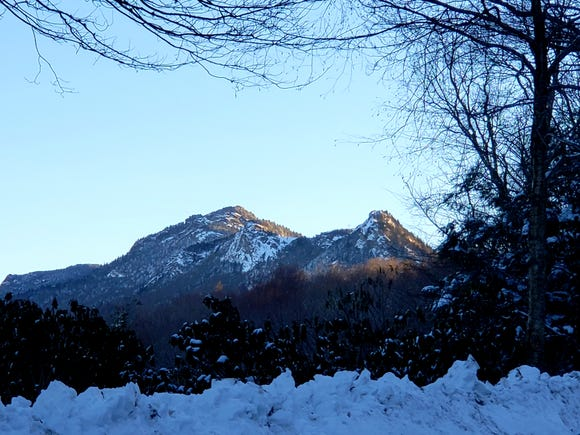 Grandfather Mountain is seen in the distance Tuesday, Dec. 11. The 5,946-foot-high peak near Linville, received about 18 inches of snow during winter storm Diego.