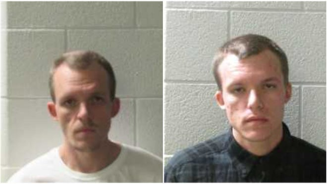 Shawn Michael Morton, 31, left, and Justin Ray Morton, 24, are being held in Henderson County Jail after being charged in connection to a breaking and entering crime spree in the latter part of November in Flat Rock.