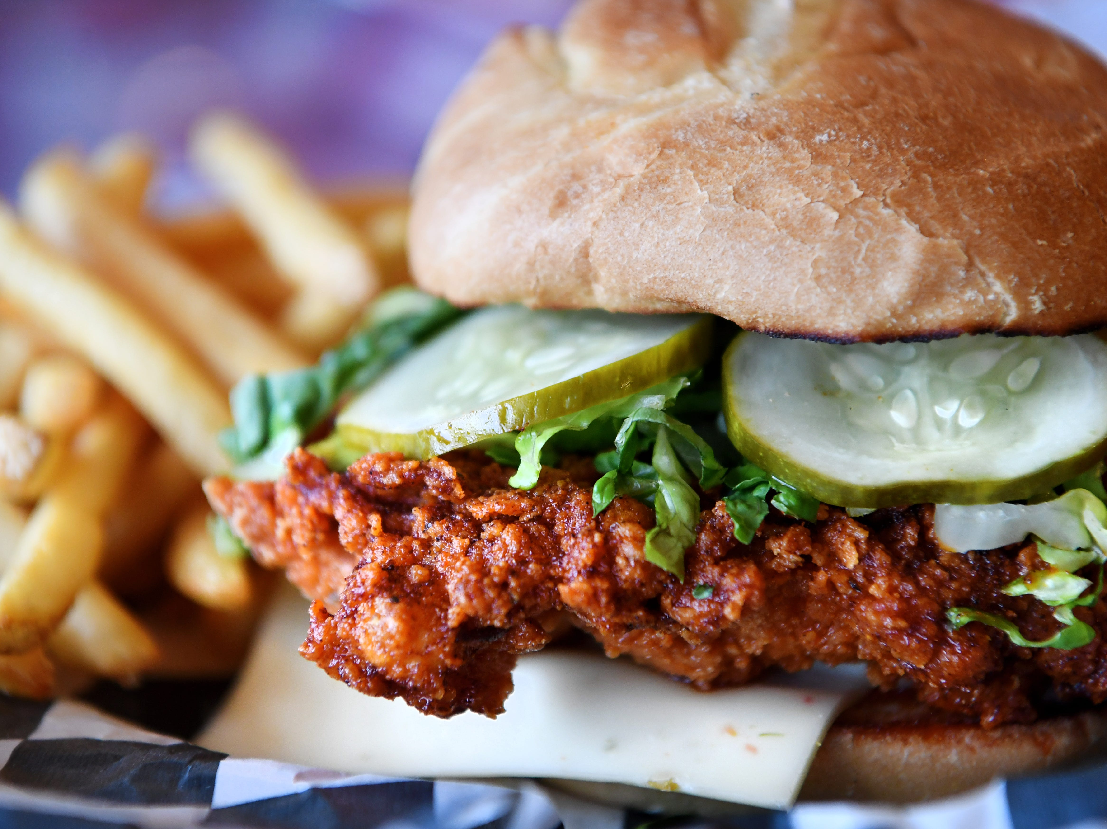 The Nashville hot chicken sandwich from Henrietta's Poultry Shoppe in the River Arts District Dec. 7, 2018.