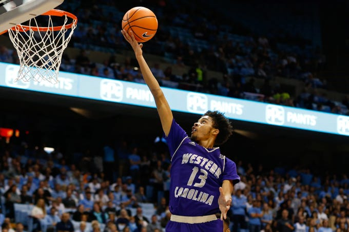 Dec 6, 2017; Chapel Hill, NC, USA; Western Carolina Catamounts guard Deriece Parks (13) goes up for a shot in the first half against the North Carolina Tar Heels at Dean E. Smith Center. Mandatory Credit: Jeremy Brevard-USA TODAY Sports