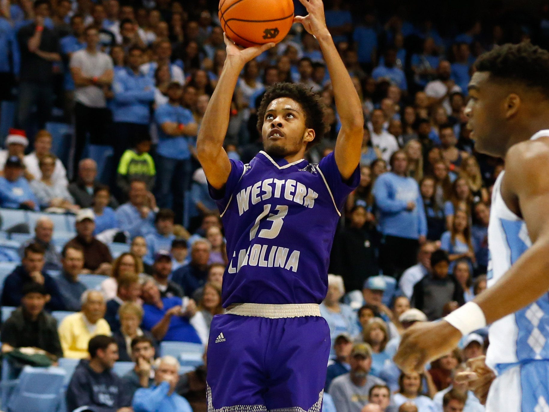 Dec 6, 2017; Chapel Hill, NC, USA; Western Carolina Catamounts guard Deriece Parks (13) shoots a three pointer in the first half against the North Carolina Tar Heels at Dean E. Smith Center. Mandatory Credit: Jeremy Brevard-USA TODAY Sports
