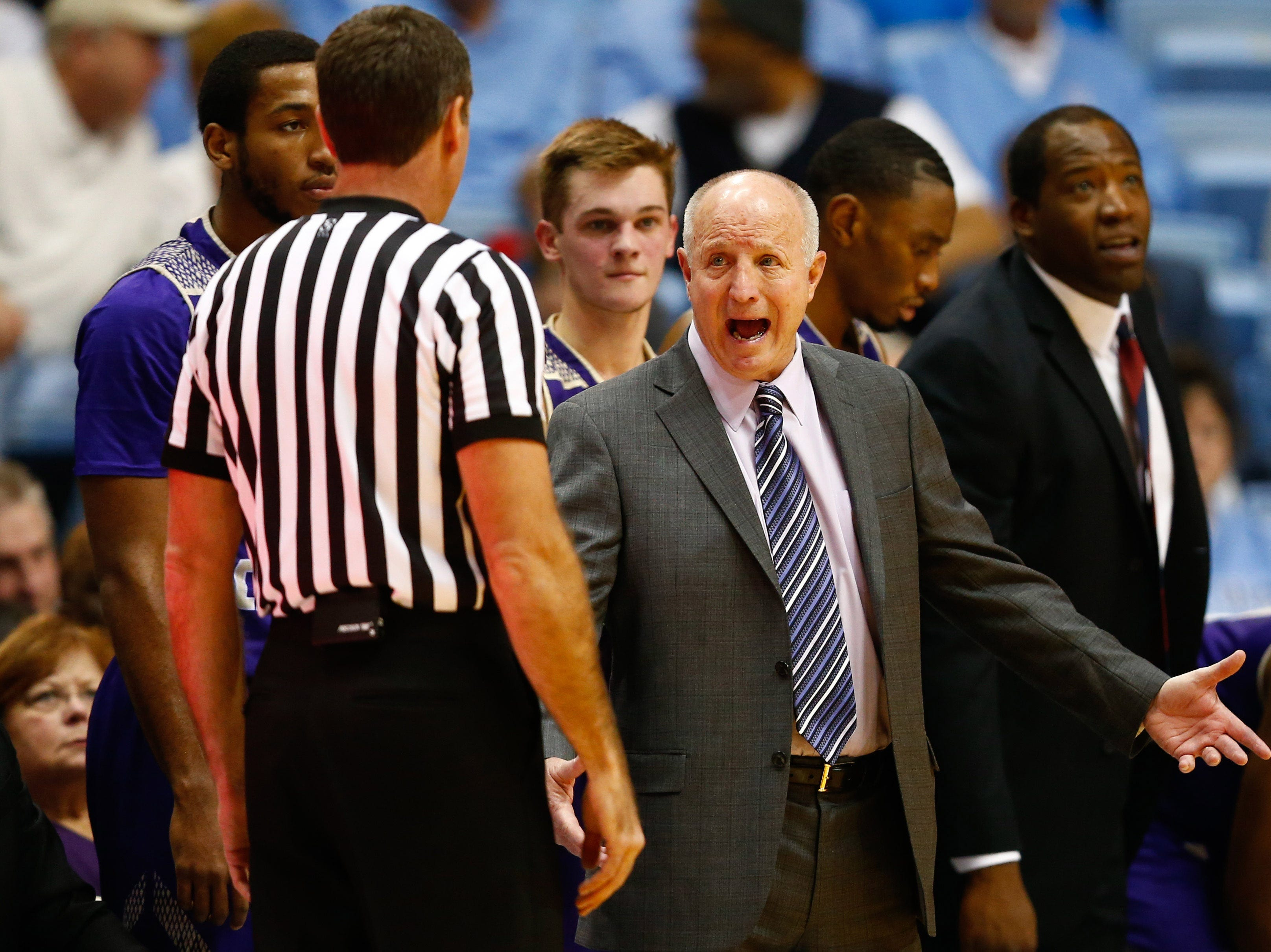 Dec 6, 2017; Chapel Hill, NC, USA; Western Carolina Catamounts head coach Larry Hunter talks with an official in the first half against the North Carolina Tar Heels at Dean E. Smith Center. Mandatory Credit: Jeremy Brevard-USA TODAY Sports