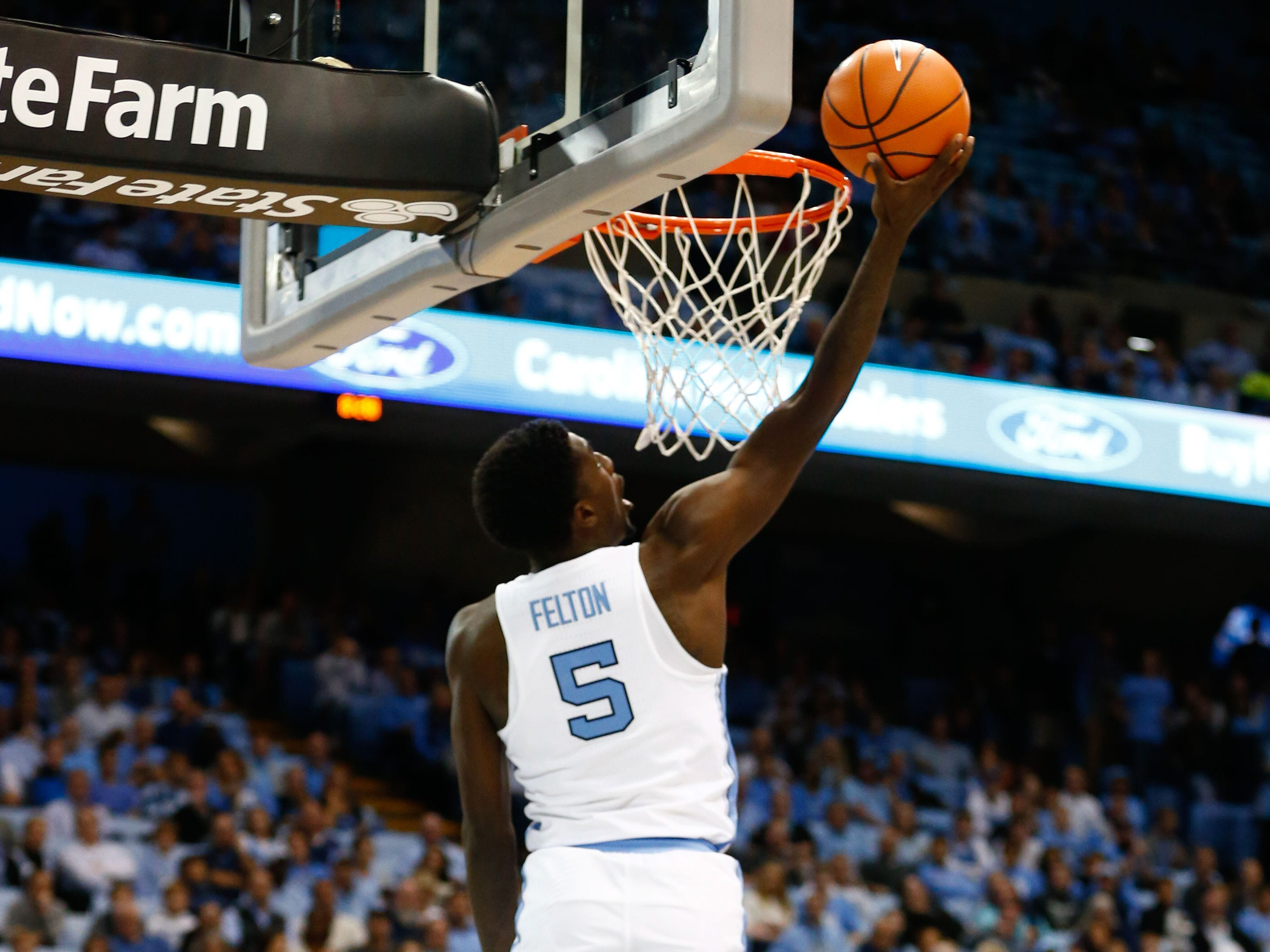 Dec 6, 2017; Chapel Hill, NC, USA; North Carolina Tar Heels guard Jalek Felton (5) goes up for a shot against the Western Carolina Catamounts at Dean E. Smith Center. Mandatory Credit: Jeremy Brevard-USA TODAY Sports