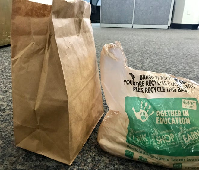 Kroger recently announced it would do away with plastic bags, and Harris Teeter, whose bag is pictured on the right, says it will phase out plastic bags by 2025.