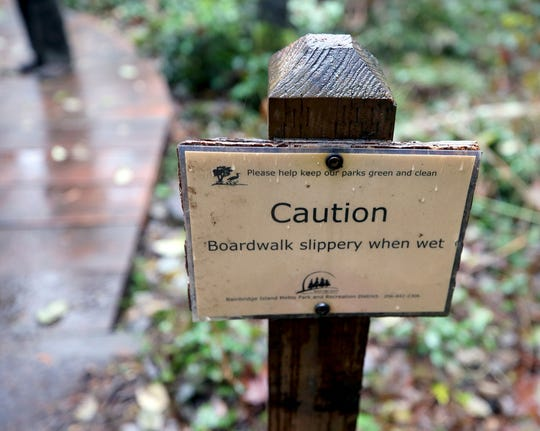 A caution sign on one of the new boardwalks at Hawley Cove Park on Bainbridge Island.