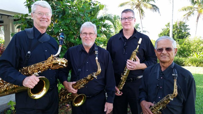 """The boys of the Adagio Sax Quartet, (from left)Dave Hutson, John Babb, Andrew Cleaver and Dave Melchor, will play traditional Christmas tunes with a """"saxy"""" flair at their concert Dec. 23."""