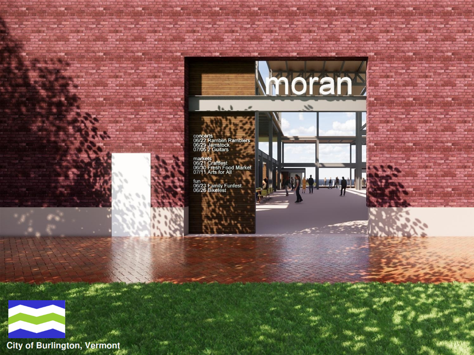 Vision for Moran: Old brick and new possibilities are suggested in this rendering of the partially deconstructed power plant on Burlington's waterfront. Created by Freeman French Freeman for the city's Community and Economic Development Office and presented Dec. 10, 2018.