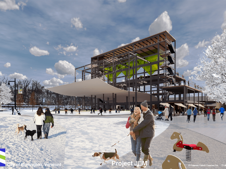 Vision for Moran: Options for the old power plant, beyond its partial demolition, include an ice skating rink, sheltered by a suspended, wavy roof. This rendering was created by Freeman French Freeman for the city's Community and Economic Development Office and presented Dec. 10, 2018.