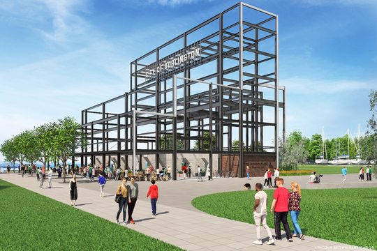 "The basic ""frame"" — Burlington's old waterfront power plant is stripped to its basic structural elements. This rendering was created by Lincoln Brown Illustration for the city's Community and Economic Development Office and presented Dec. 10, 2018."