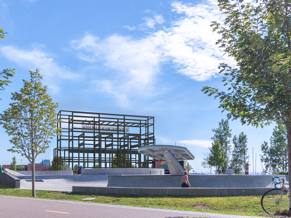 Vision for Moran: The framework of the old waterfront power plant on Burlington's waterfront, as viewed from the skatepark, is seen here in a rendering created by Lincoln Brown Illustration for the city's Community and Economic Development Office and presented Dec. 10, 2018.