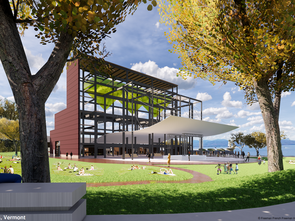 Vision for Moran: Future options for the old waterfront power plant, beyond its partial demolition, include art installations and a covered recreation area. This rendering was created by Freeman French Freeman for the city's Community and Economic Development Office and presented Dec. 10, 2018.