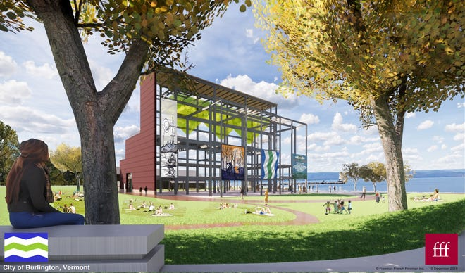 """Frame"" concept: The waterfront Moran Plant, stripped of most of its brick, is seen in this rendering created by Freeman French Freeman for the Burlington Community and Economic Development Office (CEDO) and presented on Dec. 10, 2018."