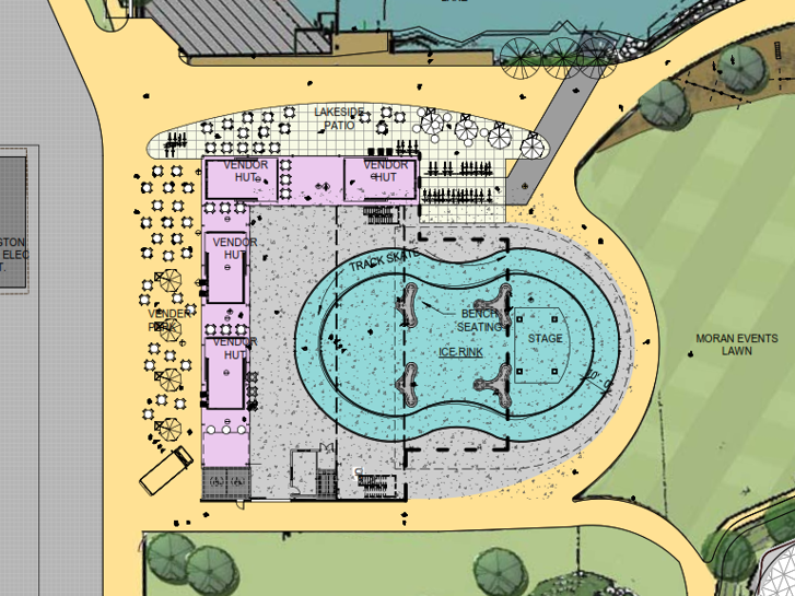 A close-up plan shows possible uses for a partially dismantled - and newly revived - Moran Plant on Burlington's waterfront. This illustration was created by Freeman French Freeman for the city's Community and Economic Development Office and presented Dec. 10, 2018.