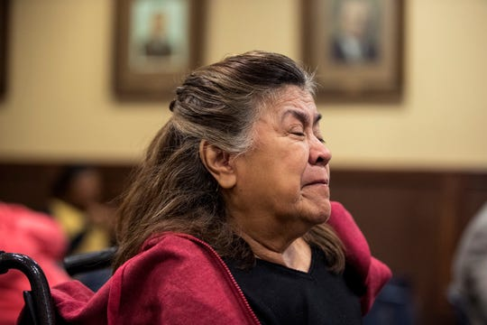 San Juanita Vega becomes emotional during as her daughter gives a victim impact statement after Cedric Green is sentenced to 55 years for murder and 65 years for engaging in organized criminal activity during court in the 117th District Court on Tuesday, December 11, 2018. Green was convicted in the murder of Vega's daughter, Elizabeth Stephanie Montez, a transgender woman.