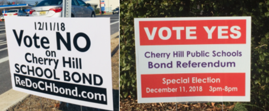 Lawn signs present opposing views before Cherry Hill's school-bond vote Tuesday.
