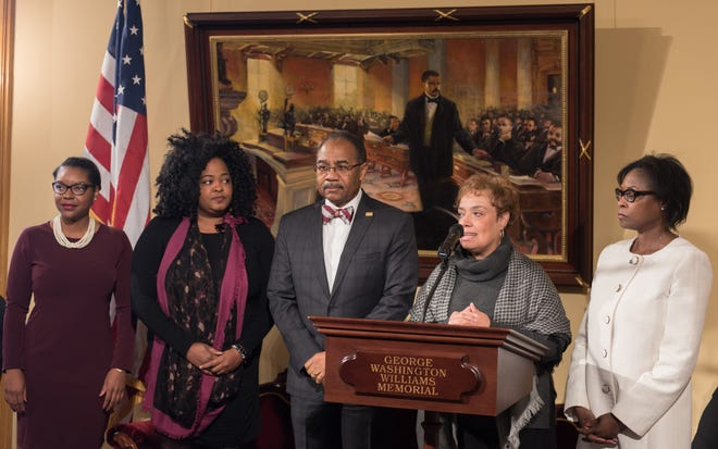 Ohio Democratic Rep. Emilia Sykes, Rep. Stephanie Howse, Sen. Vernon Sykes, Sen. Charleta Tavares and Sen. Sandra Williams urged support for a state-funded study of African-American history in the U.S. and Ohio during a Tuesday press conference.