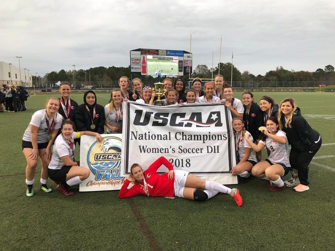 The UC Clermont women's soccer team celebrates their USCAA national championship win Nov. 12 in Virginia Beach, Va. photo courtesy of USCAA