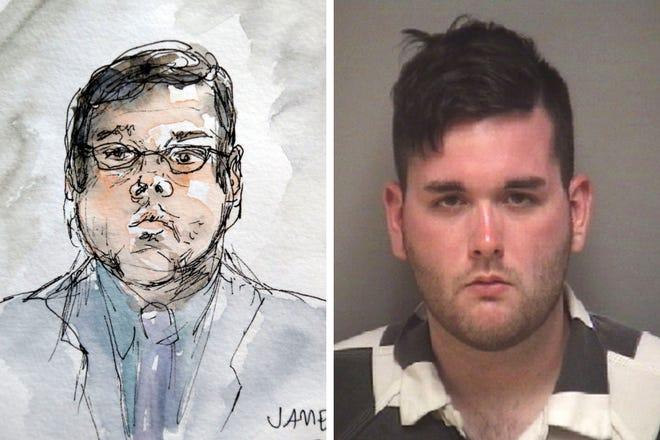 Sketch (AP) and headshot of James Alex Fields Jr.