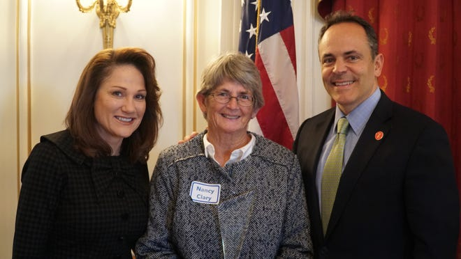 Nancy Clary from Kenton County accepted the Northern Bluegrass Service Region Parent of the Year award on Nov. 3, 2018. From left: First lady Glenna Bevin, Nancy Clary, Gov. Matt Bevin.