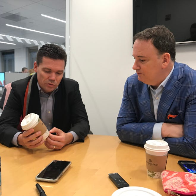 FC Cincinnati head coach Alan Koch (left) and President and General Manager Jeff Berding (right) field questions about the club's expansion draft and other subjects on a conference call Tuesday afternoon at MLS headquarters in Manhattan.