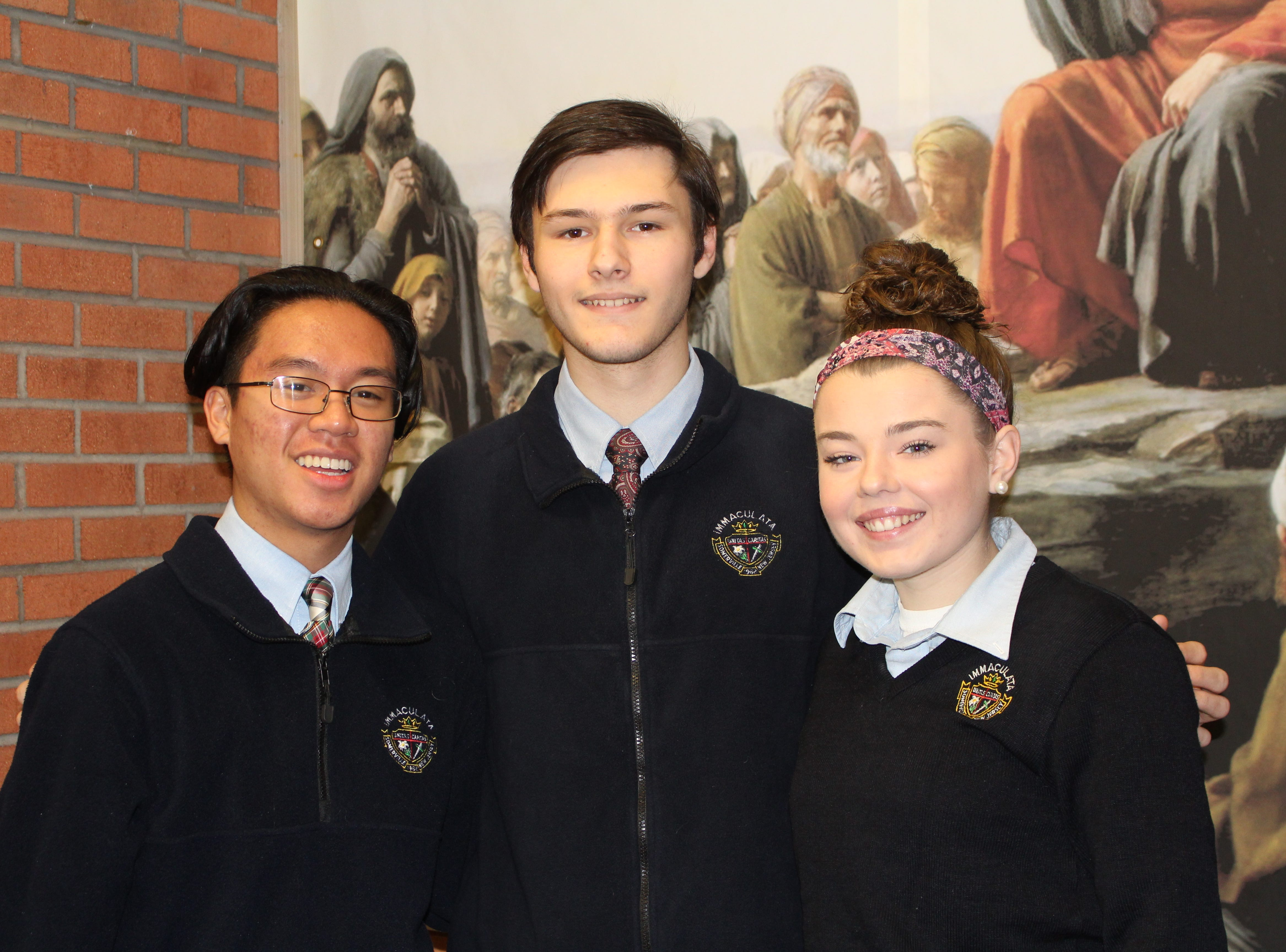 Three Immaculata students, Bridgette LeBoeuf (right) of Milford , Gerard Rabulan (left) of Somerville, and  GianMarco Scotti (center) of Milltown, were selected among the most musically talented high school students in the Eastern region of the country.  They will join the over 700 performers (from 11 states, D.C., and Europe), who will participate in the 2019 National Association for Music Education's (NAFME) All-Eastern Honors Ensembles this spring.