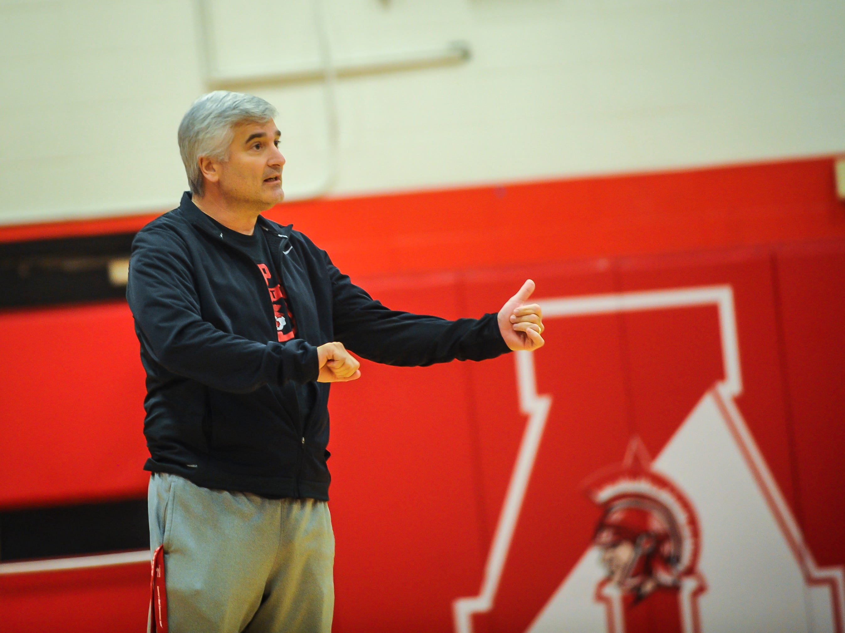 Bishop Ahr boys basketball head coach Bob Turco gives instructions during a scrimmage against Immaculata on Saturday, Dec. 8, 2018 in Edison.