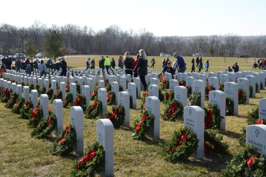 Wreaths recognize and honor fallen soldiers at the Iowa Veterans Cemetery in 2017.